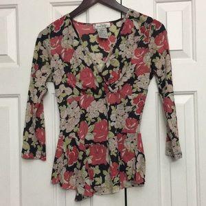 🎃2/$29 Nine West Stretchy Meshy Floral Top M